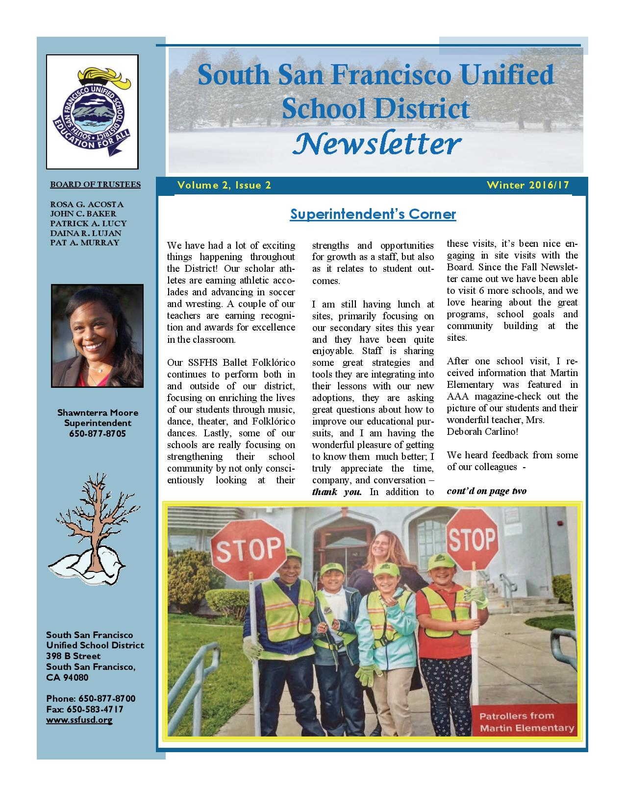 SSFUSD Newsletters Winter 2016-17