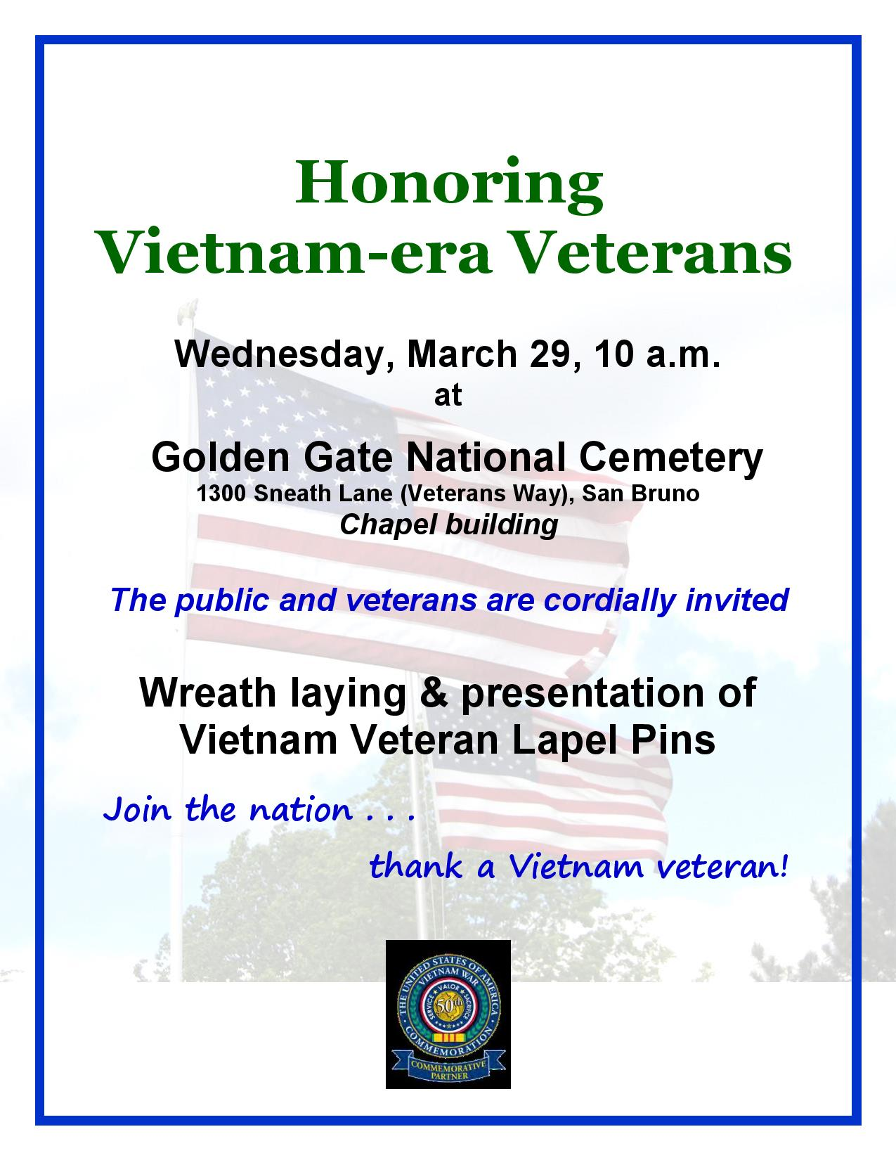 Honoring Vietnam-era Veterans Wednesday March 29th at GGNC