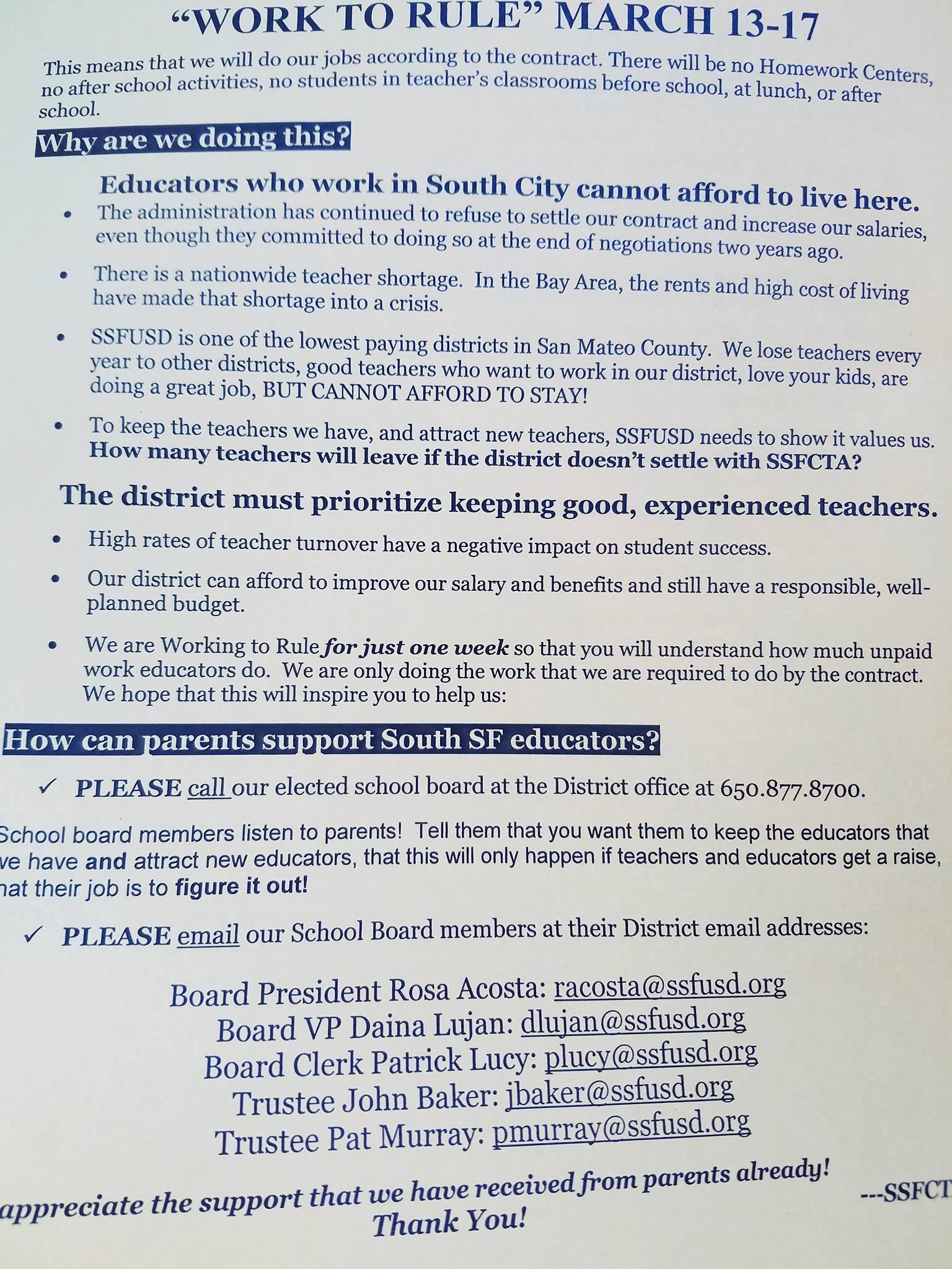 SSFUSD Teachers Demand Raises in the 'Work to Rule' Campaign