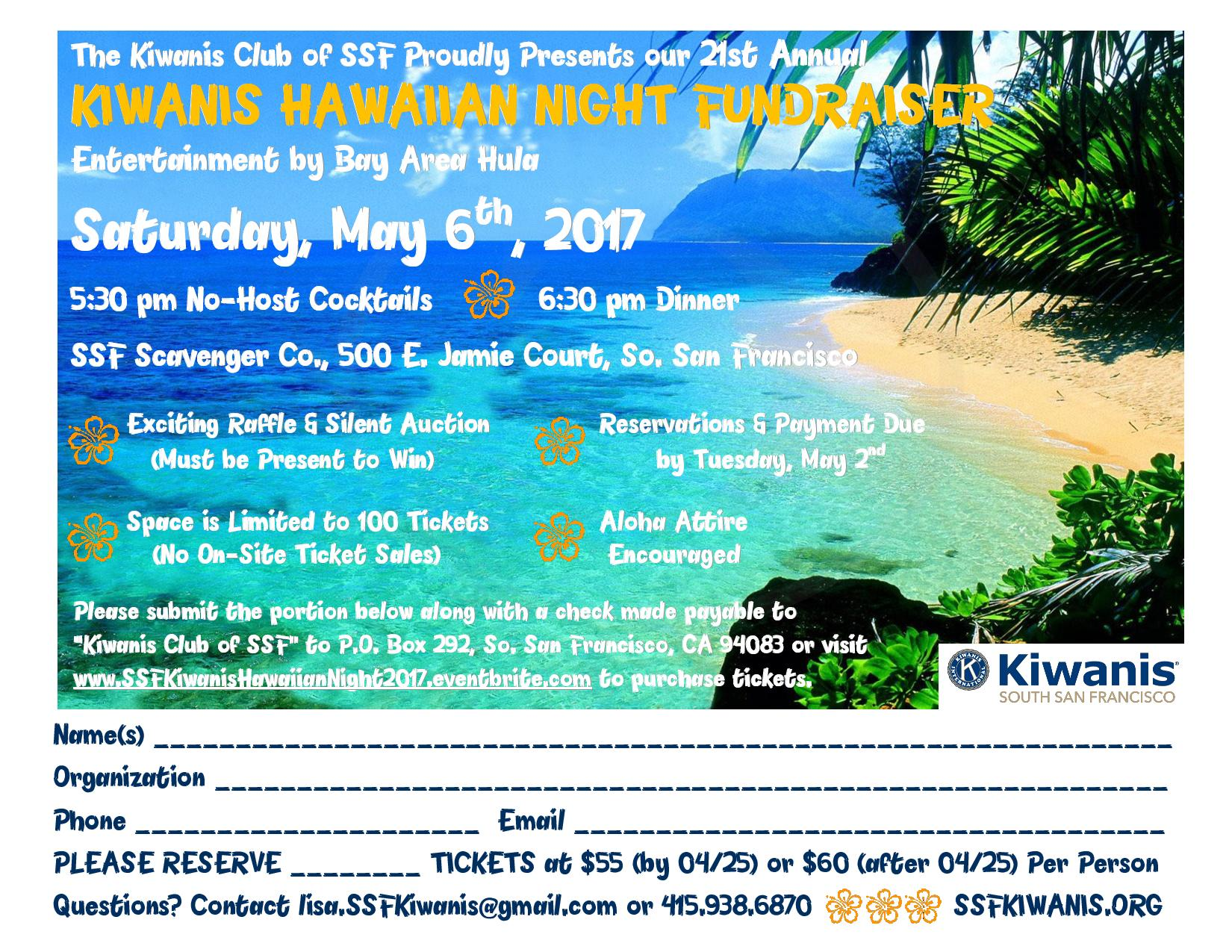 Kiwanis Club of SSF Hawaiian Night Fundraiser 05/06