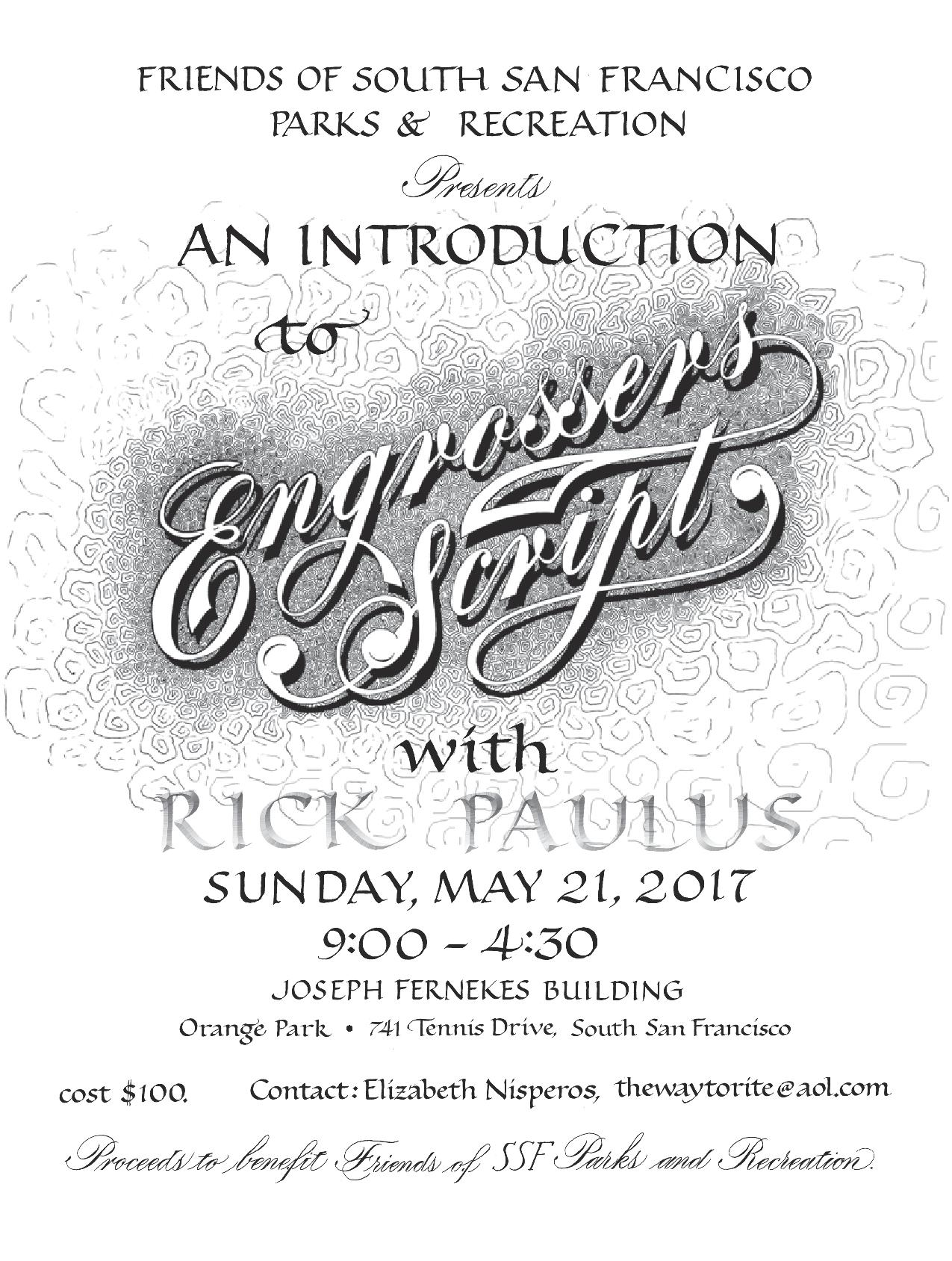 Friends of Park and Rec Hosting Introduction To Engrosser's Script With Rick Paulus May 21st