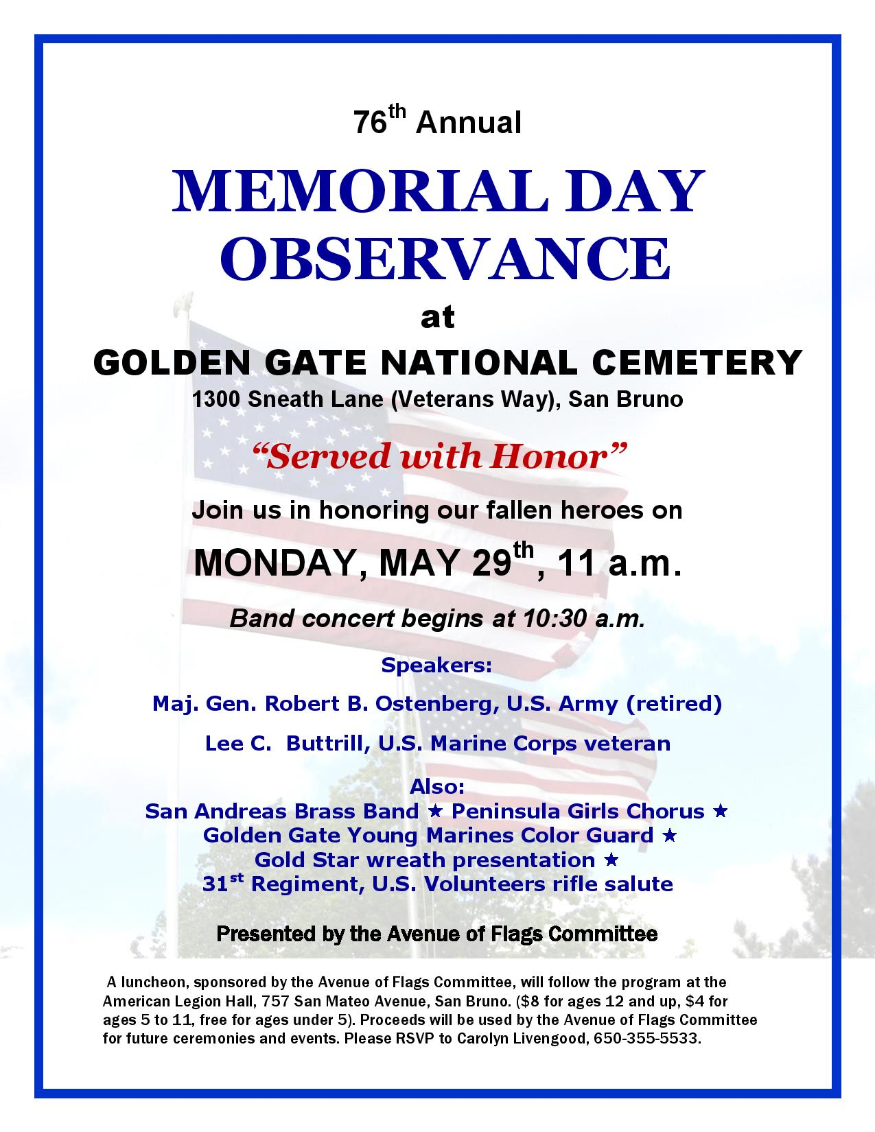Public Invited to GGNC Avenue of Flags Memorial Day Observance