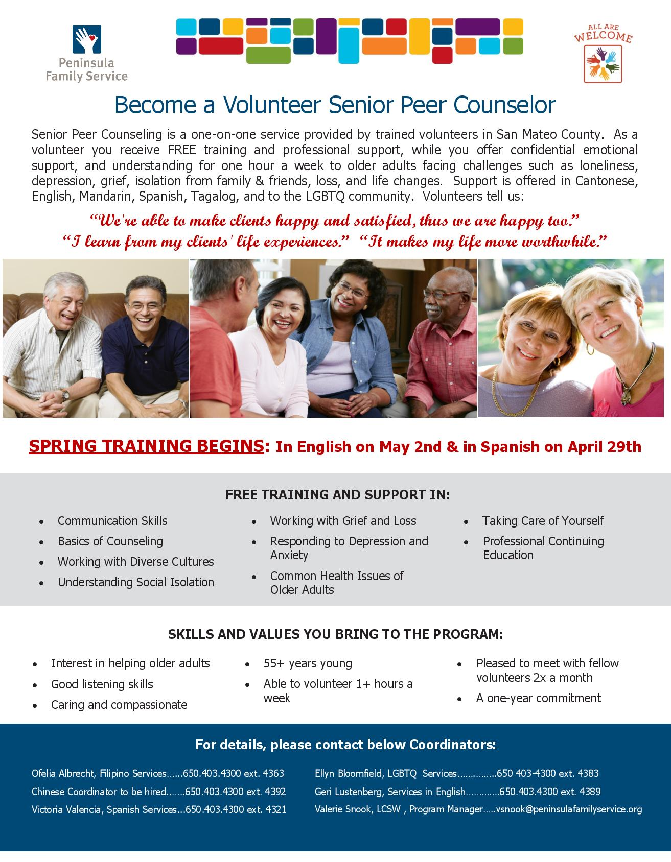 Senior Peer Counselors Sought by Peninsula Family Services