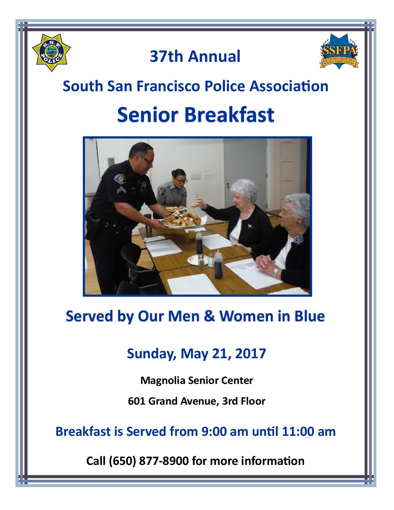 37th Annual South San Francisco Police Association Senior Breakfast Set For Sunday May 21