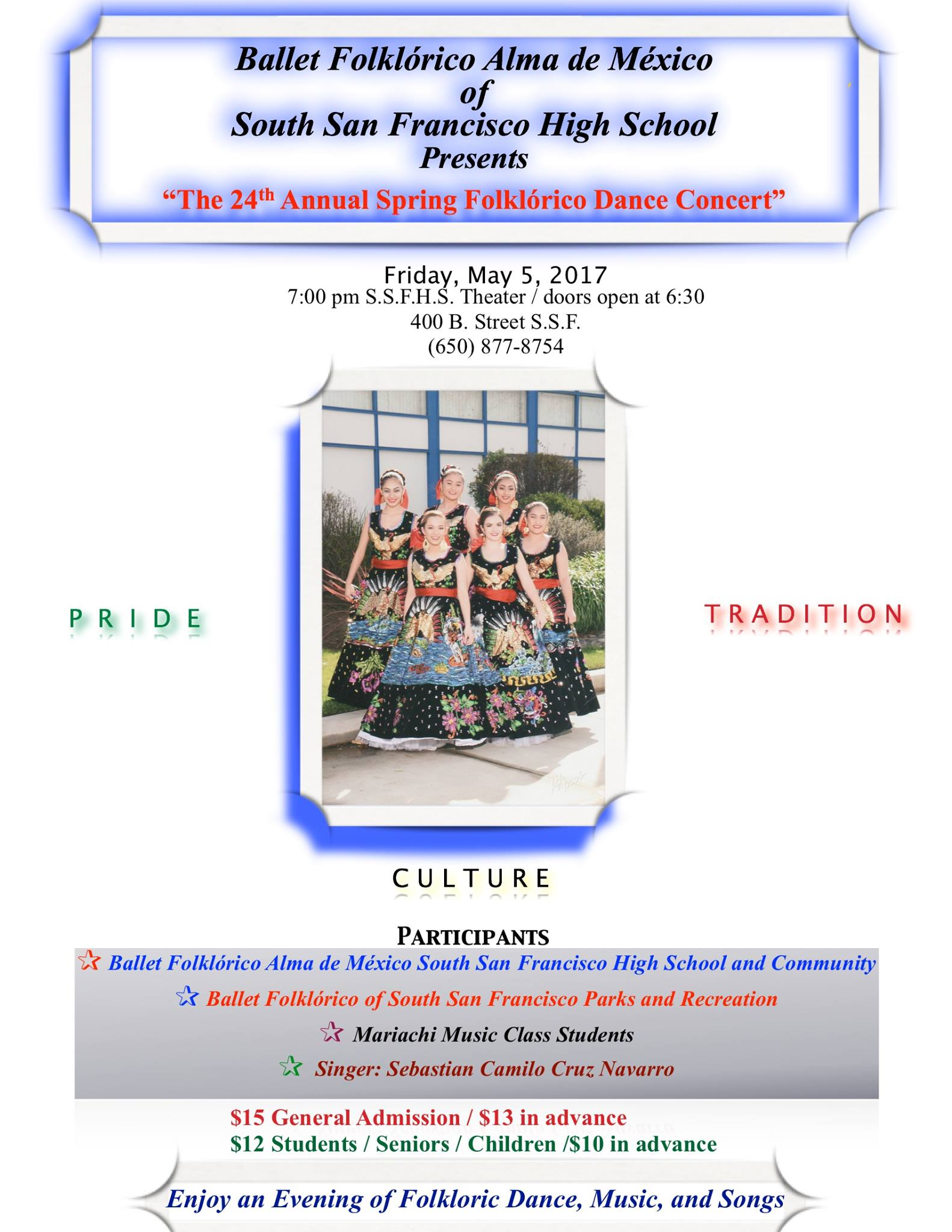 Public Invited to the 24th Spring Folklorico Show on May 5th at SSFHS