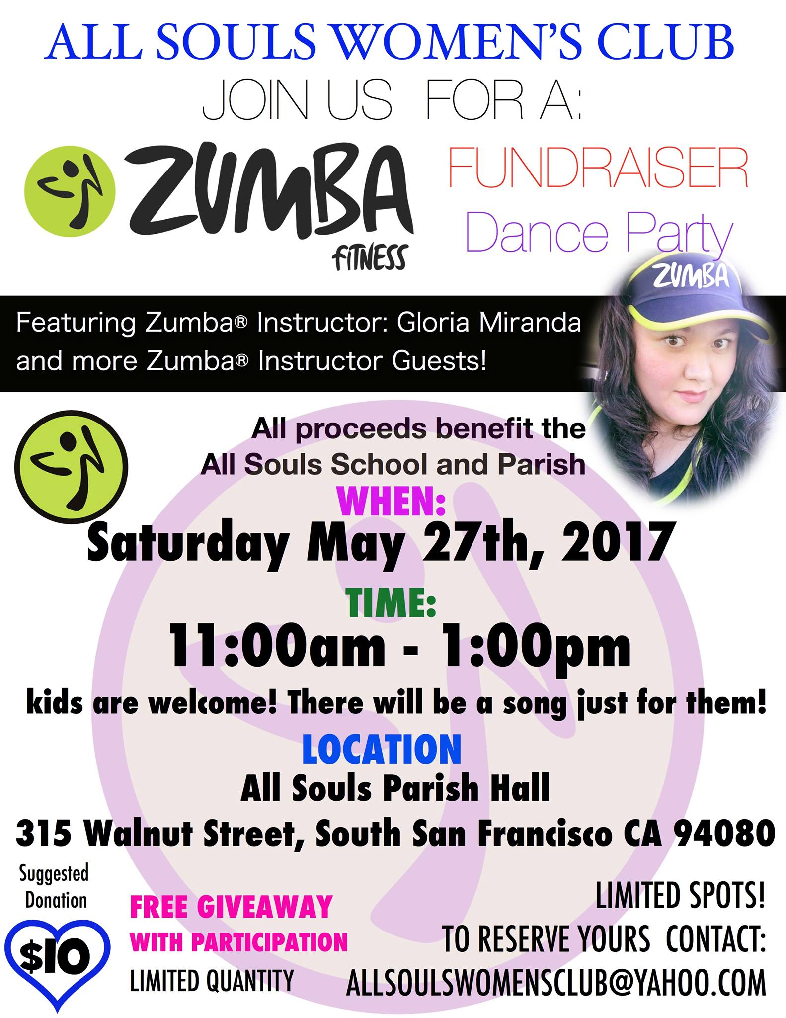 All Souls Women's Club Hosts ZUMBA FUNdraiser May 27th