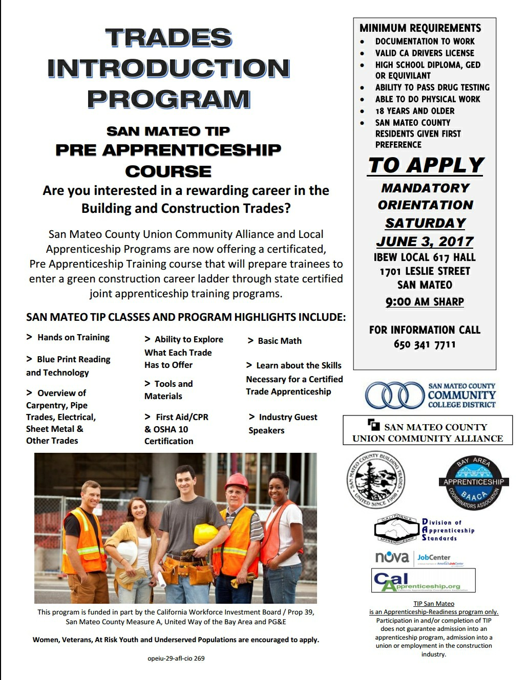 Trades Introduction Program: San Mateo TIP Pre-Apprenticeship Course SAT JUNE 3rd