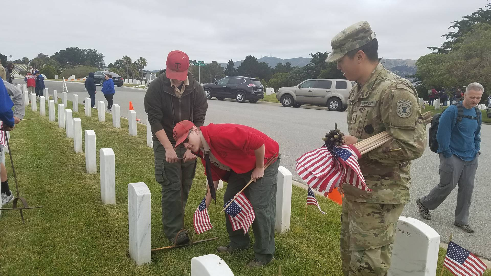 Local Scout Troops Place Flags on Graves at Golden Gate National Cemetery; Annual Memorial Day Service