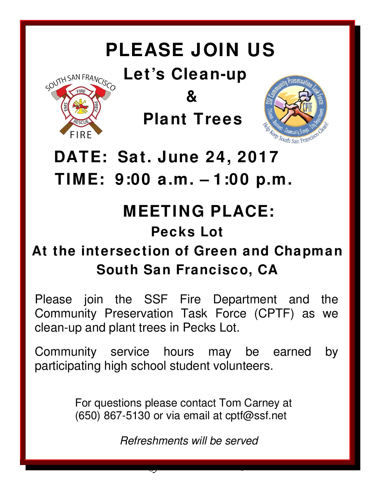 CPTF Clean Up & Tree Planting in Pecks Lot Slated for June 24th