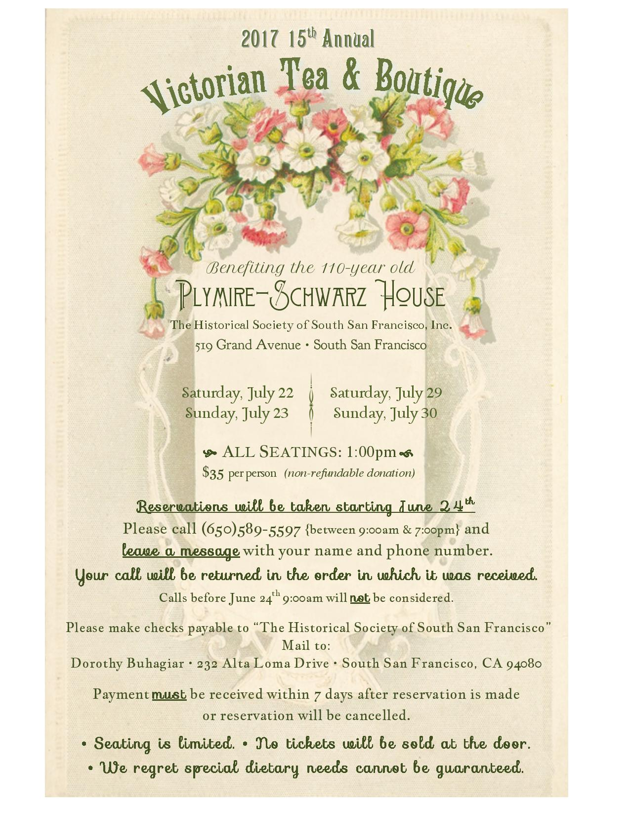 Historical Society of South San Francisco 15th Annual Victorian Tea and Boutique Set for July 22, 23, 29, 30
