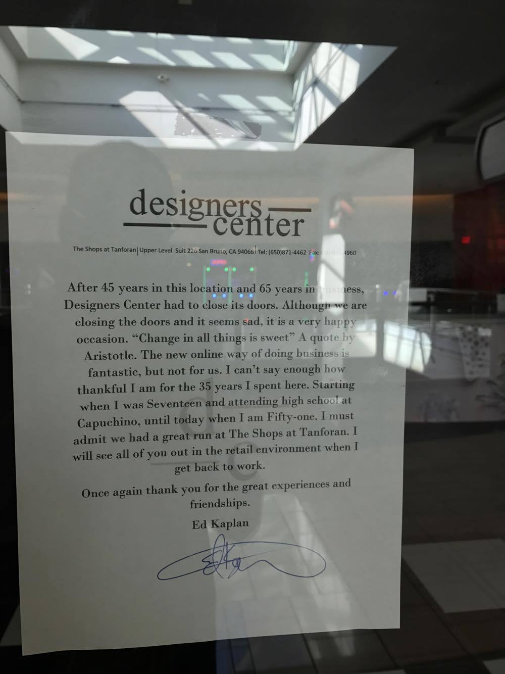 Designer Center to Close their Doors After 45 Years in Tanforan Mall
