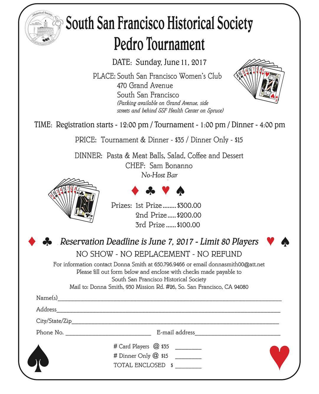 SSF Historical Society Hosts PEDRO Tourney and Spaghetti Dinner Sunday June 11th