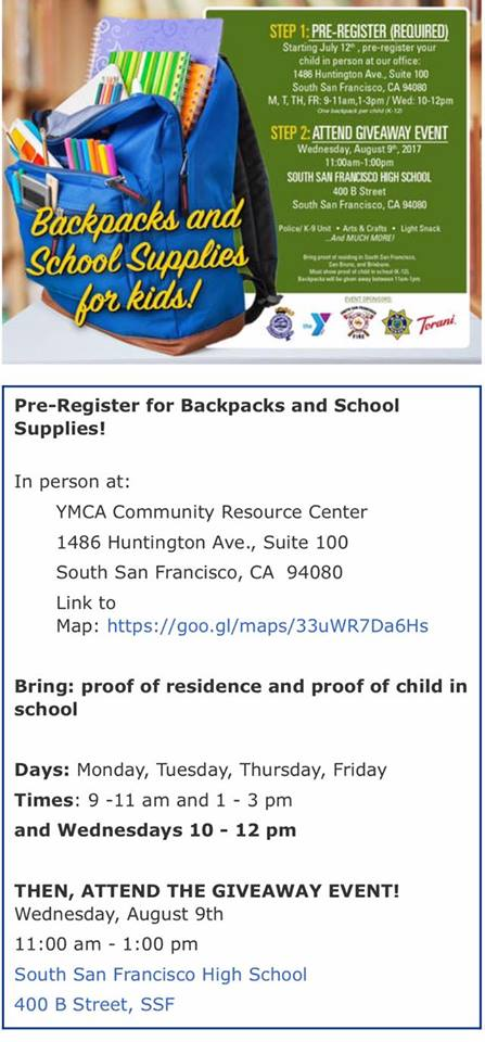 Register for FREE Backpack, School Supplies