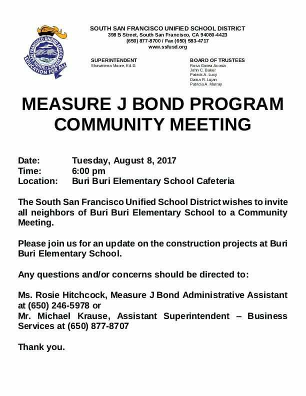 School Construction Update Meeting for Buri Neighbors August 8th