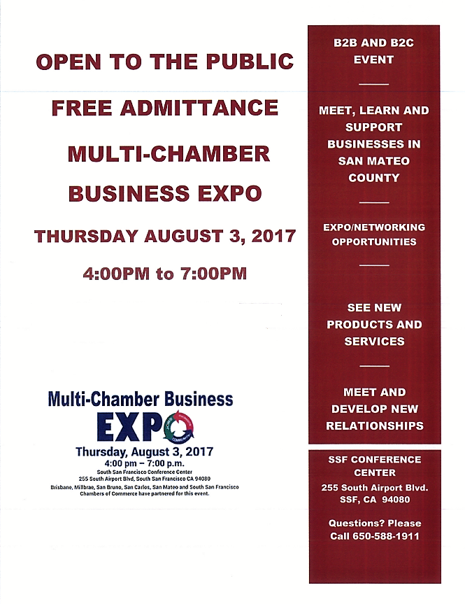 Multi Chamber Business Expo August 3rd at South San Francisco Conference Center