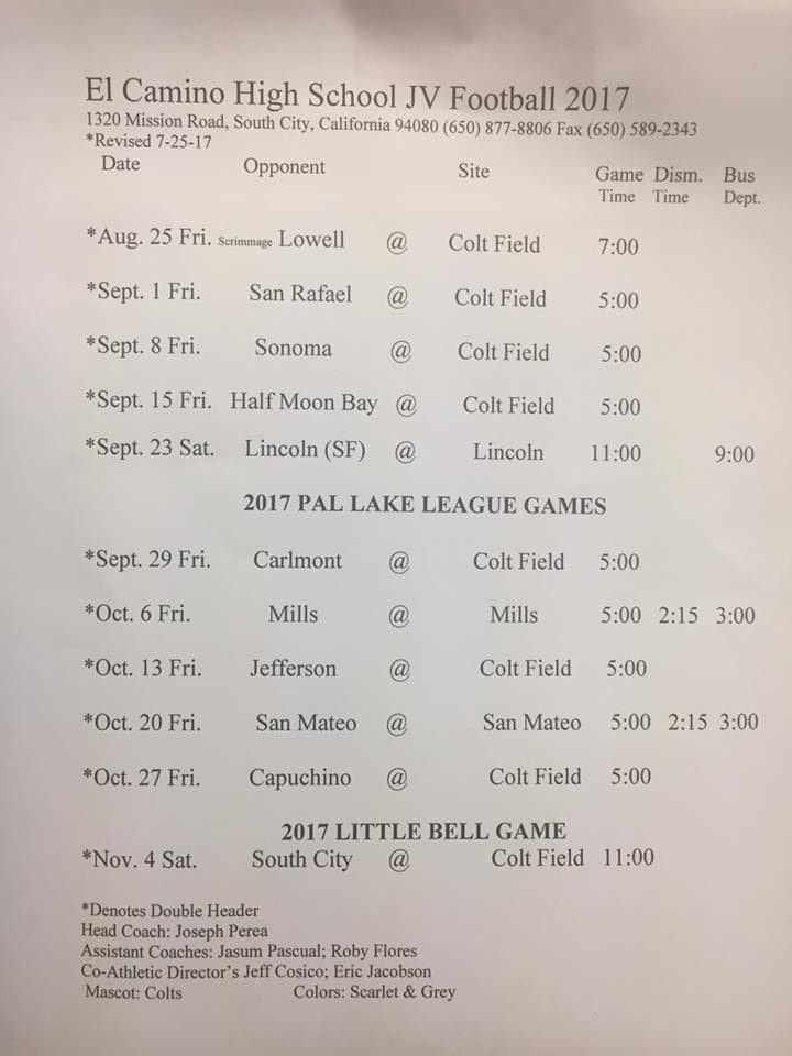 El Camino High School 2017 Football Schedule