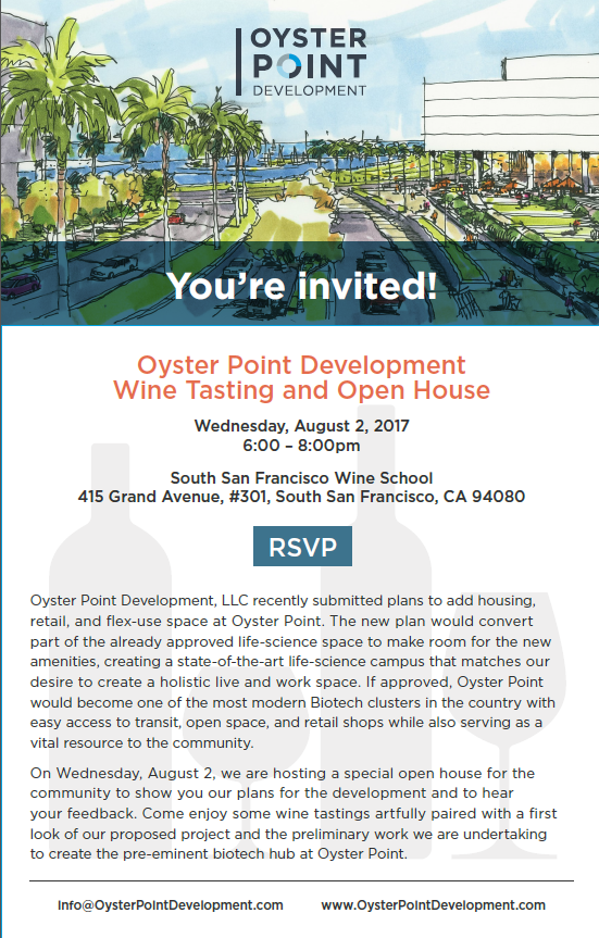 Oyster Point Development Wine Tasting and Open House August 2nd