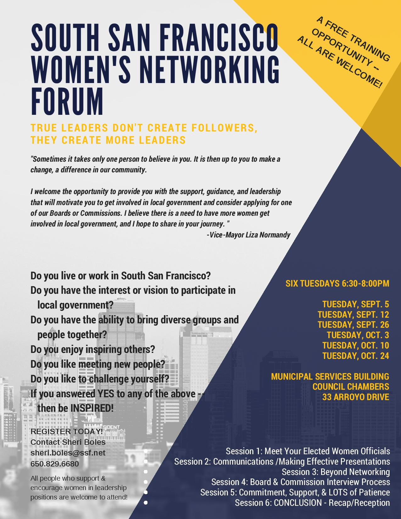 FREE SSF Women's Networking Forum Series Announced by Vice Mayor Liza Normandy