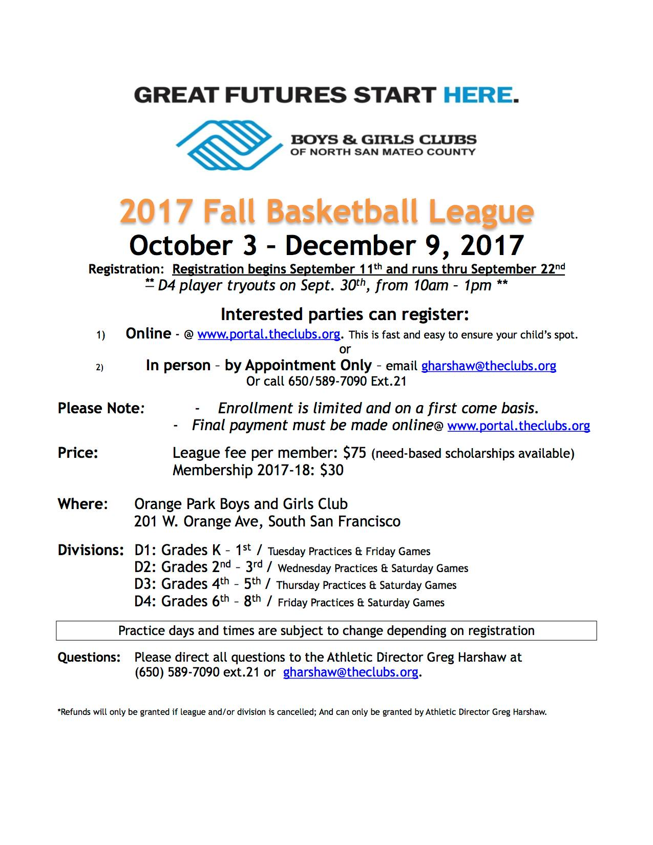 Boys and Girls Club Announce Fall Basketball Season