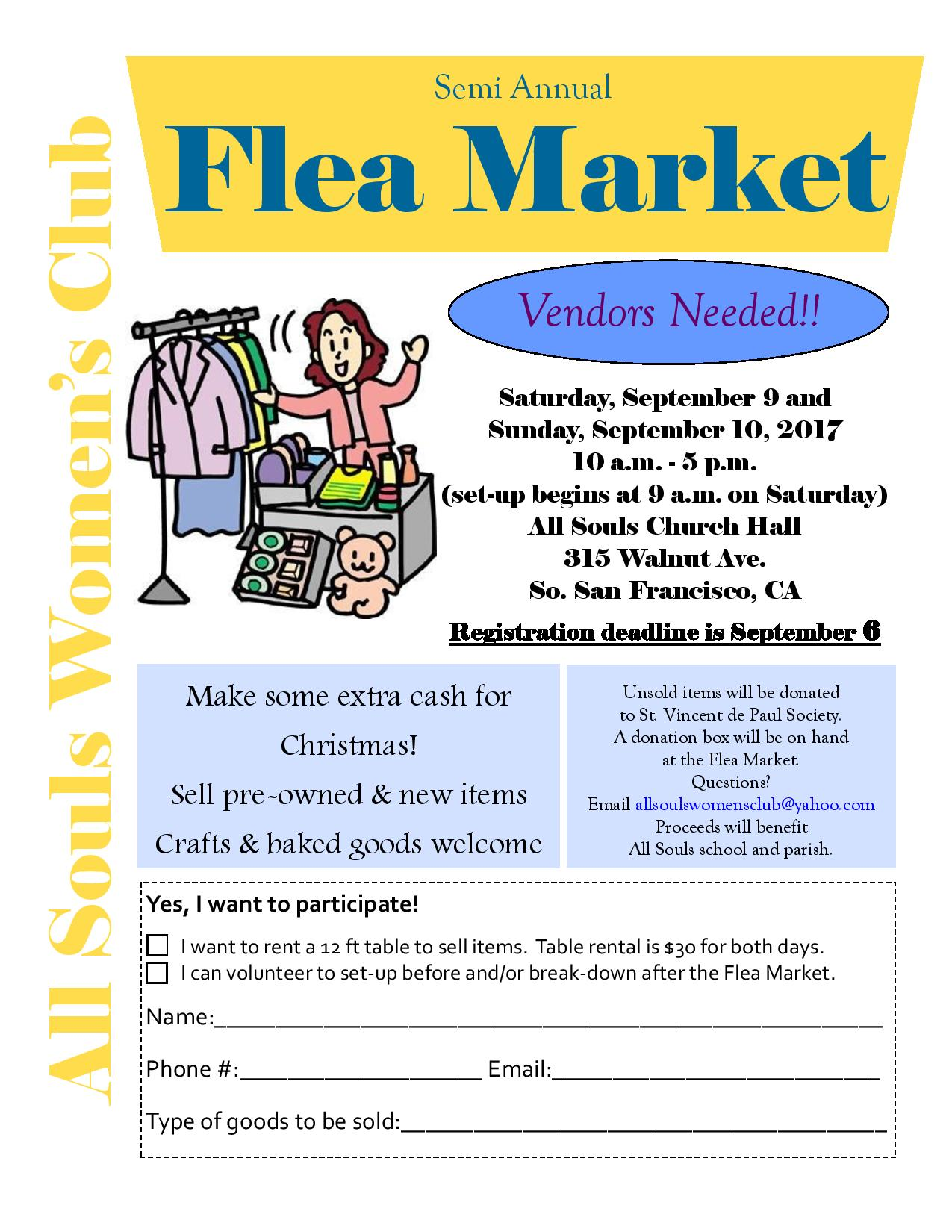 SEEKING VENDORS -All Souls Parish – Semi Annual Flea Market – Saturday, September 9 and Sunday, September 10, 2017