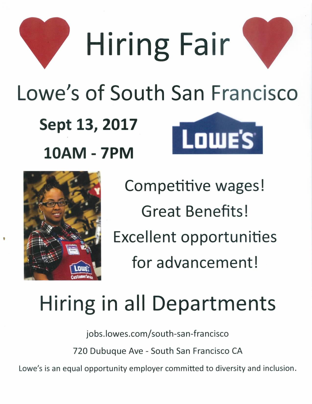 South San Francisco Lowe's Announces Hiring Fair Set for September 13th; 30+ Positions Available!