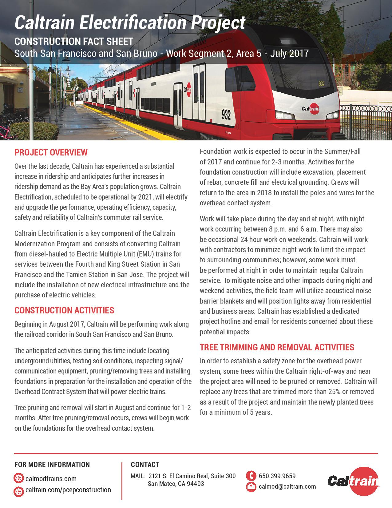 Caltrain Electrification Work Starting August 14 in South San Francisco and San Bruno