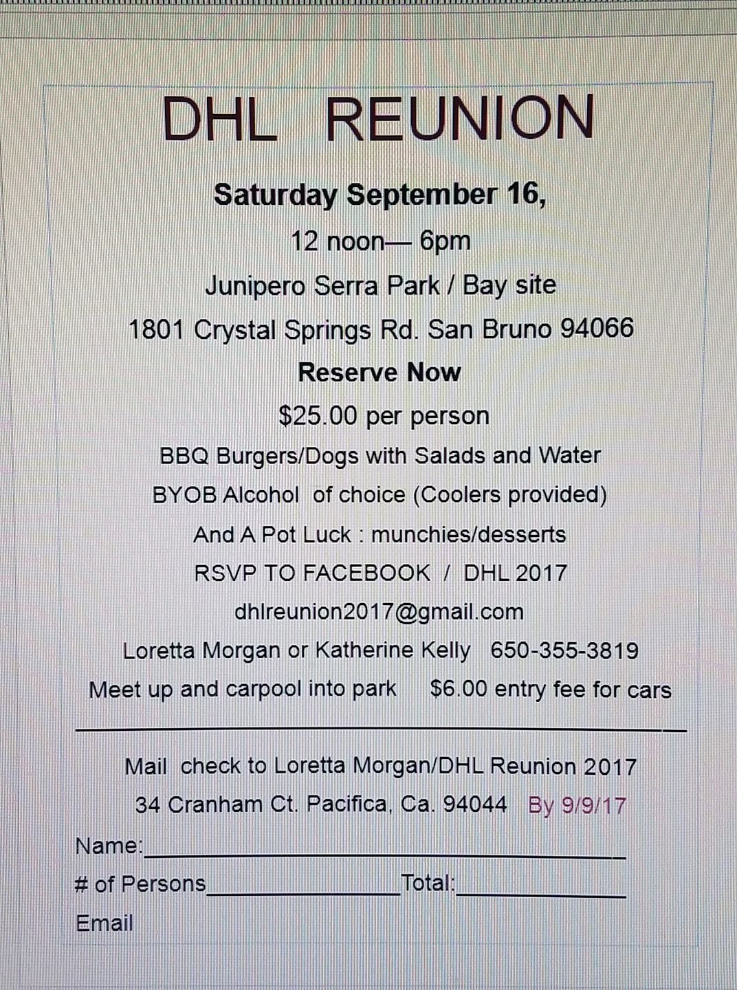 DHL Employee Reunion September 16th at Junipero Serra Park