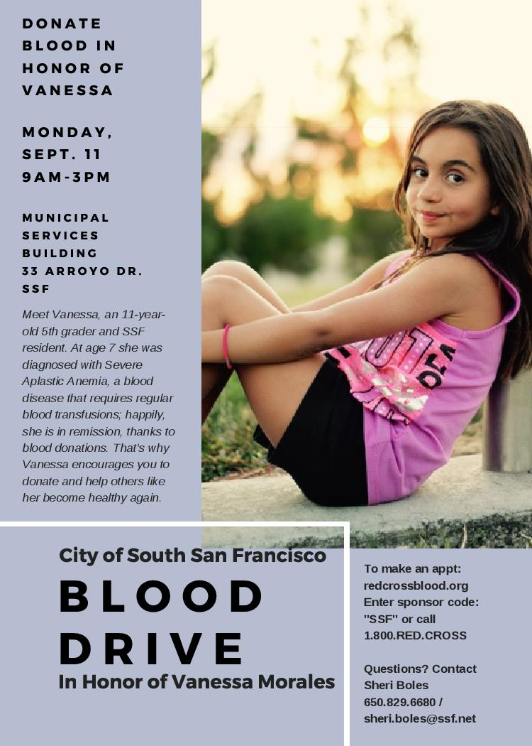 City of South San Francisco Blood Drive in Honor of Vanessa Morales on September 11th