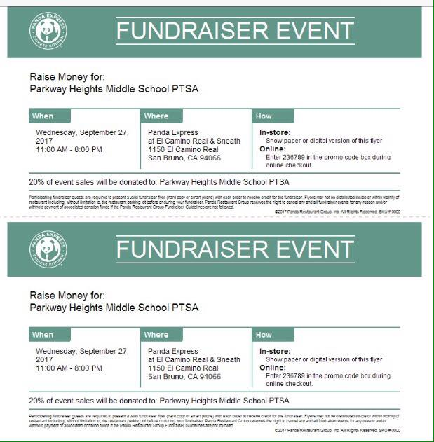 Parkway PTSA Takes Over Panda Express September 27th FUNdraiser