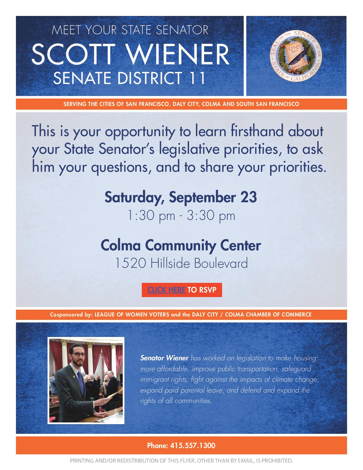 Senator Scott Wiener to Co-Host Town Hall Meeting in Colma Saturday September 23rd