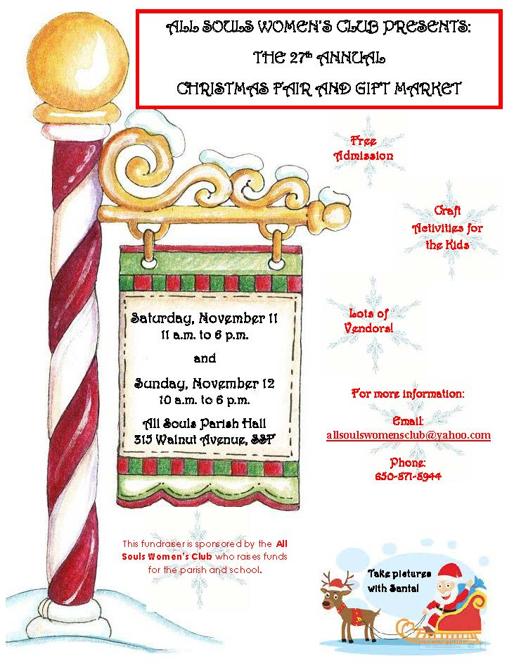 All Souls Women's Club Sets November 11th, 12th for 27th Annual Christmas Fair and Gift Market