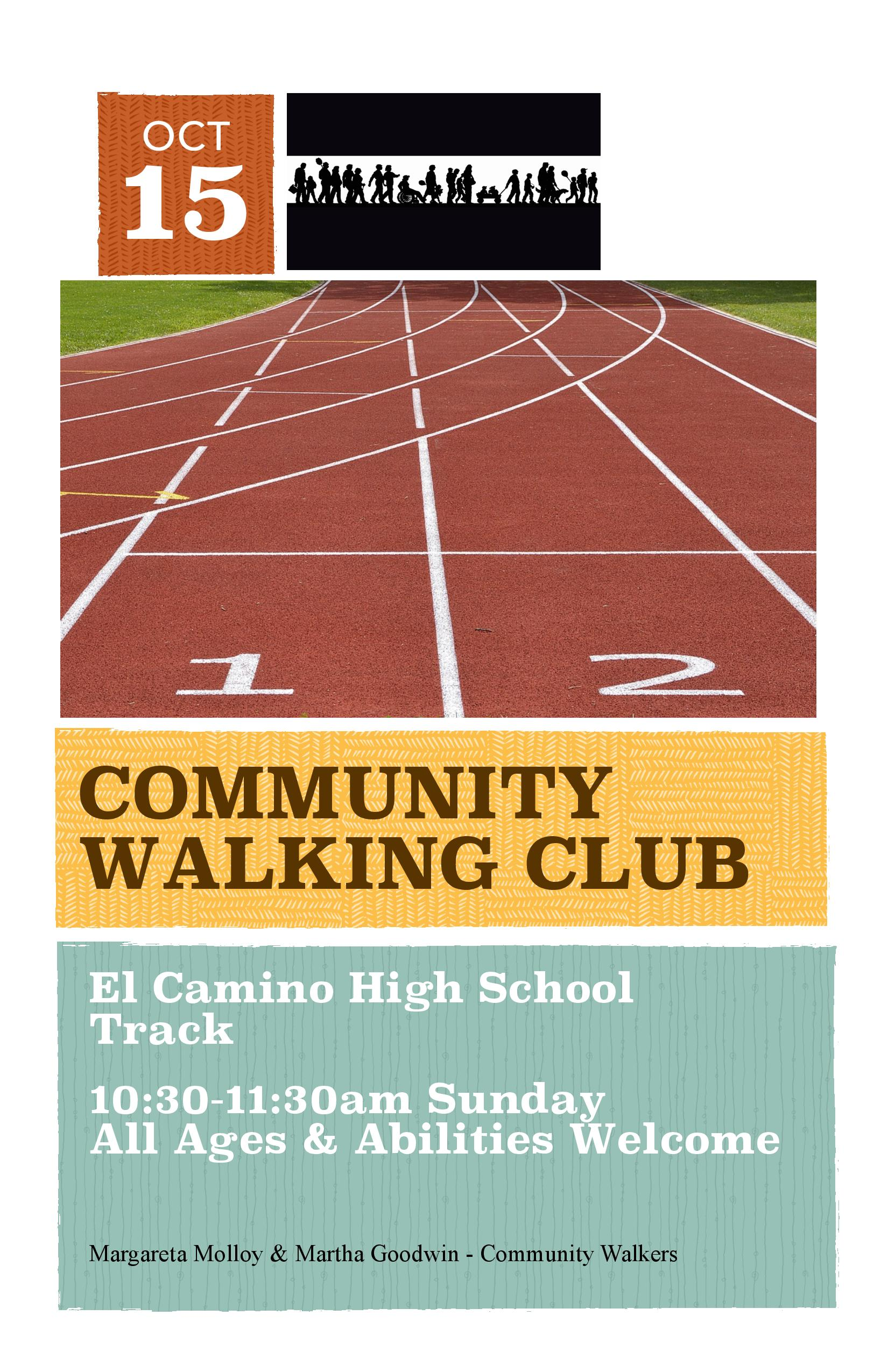 Community Walking Group to Meet at ECH Track Sunday Oct 15 10:30-11:30am