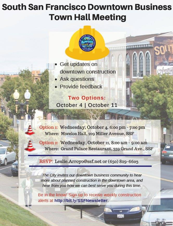 SSF Offers Construction Update Meeting for Downtown Business Owners Oct 4th and 8th