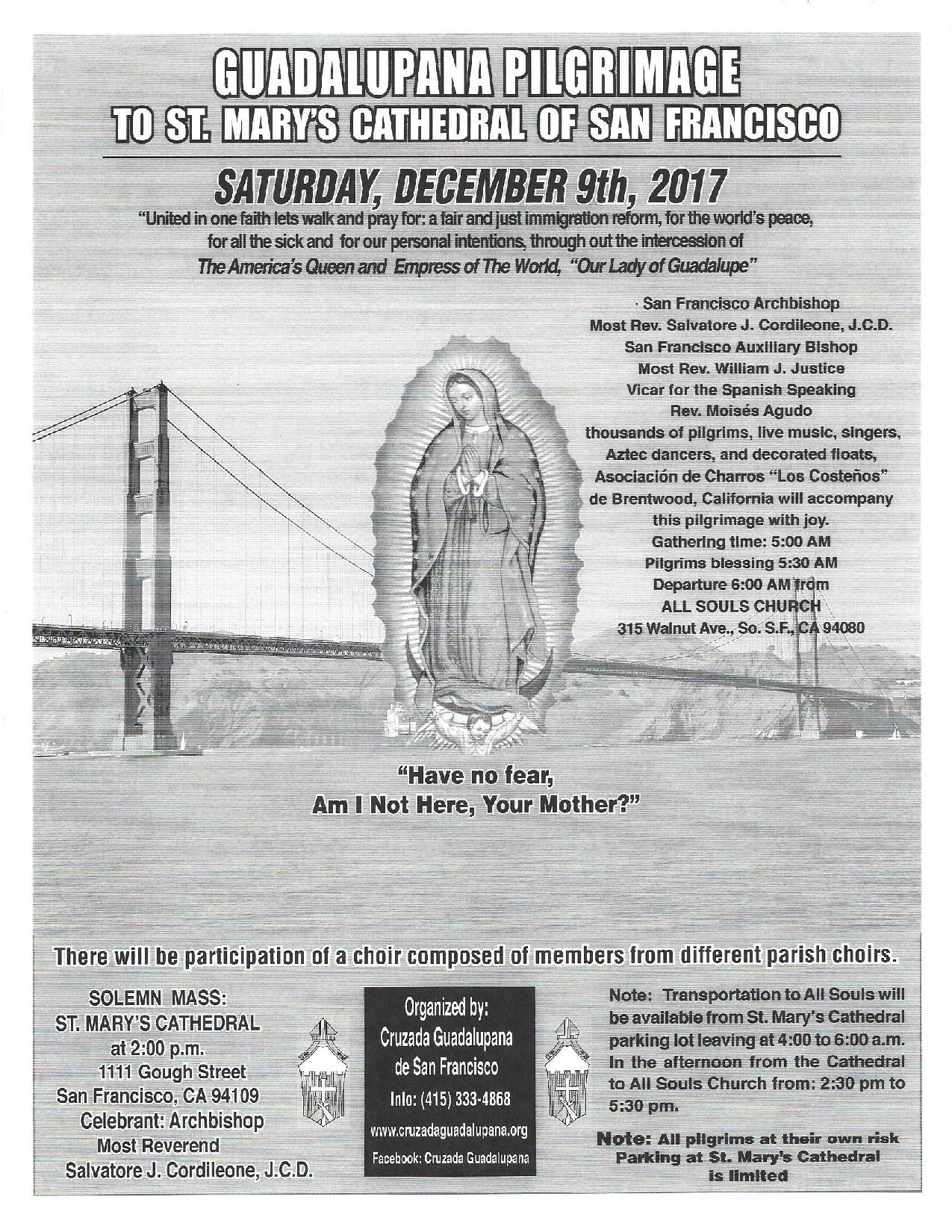 Annual Guadalupe Pilgrimage Saturday December 9th: Starts at All Souls Church at 5am