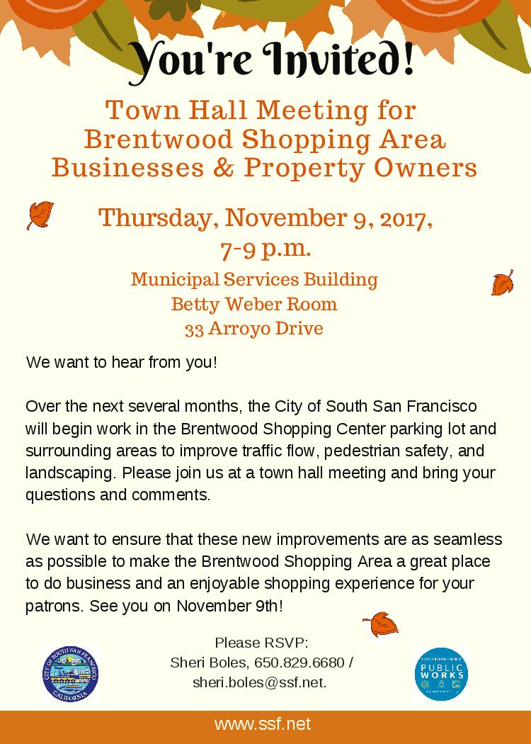 Town Hall Meeting for Brentwood Shopping Area Businesses & Property Owners: Thursday, November 9, 2017, 7-9pm
