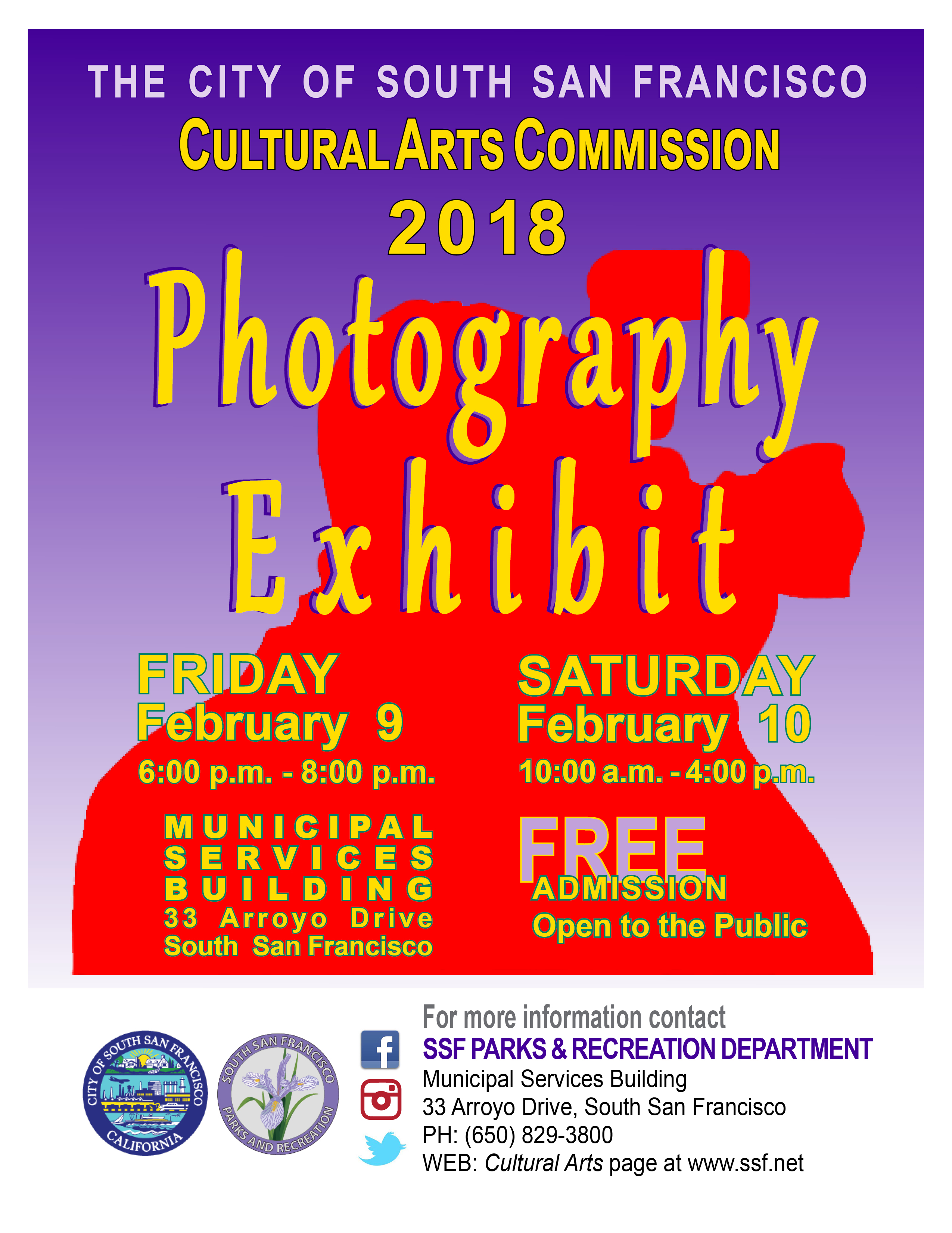 The South San Francisco Cultural Arts Commission presents the: 2018 Photography Exhibit