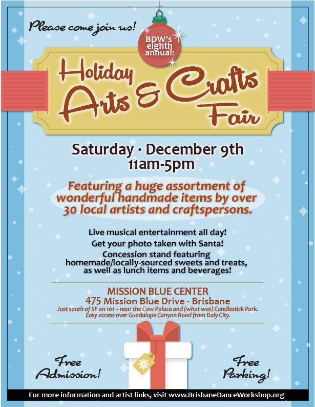 Holiday Arts and Crafts Fair December 9th at Mission Blue Center in Brisbane