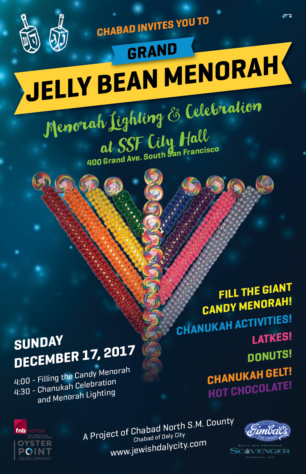 2nd Annual Menorah Lighting & Chanukah Celebration Set for Sunday Dec 17 at SSF City Hall