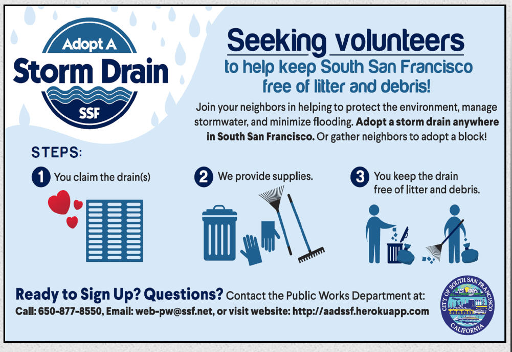 Adopt a Storm Drain in Your South San Francisco Neighborhood; by Elizabeth Nisperos