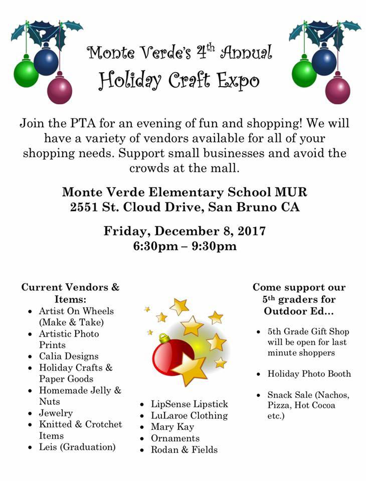 Monte Verde Elementary School Hosts 4th Annual Holiday Craft Expo Friday December 8th