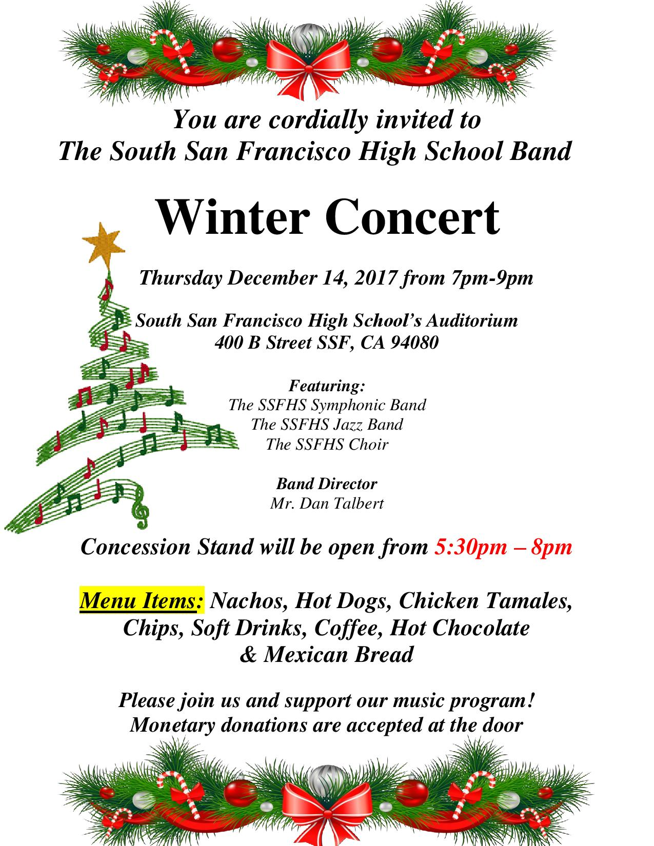 SSFHS Band Announces Annual Winter Concert to be held Dec. 14, 2017