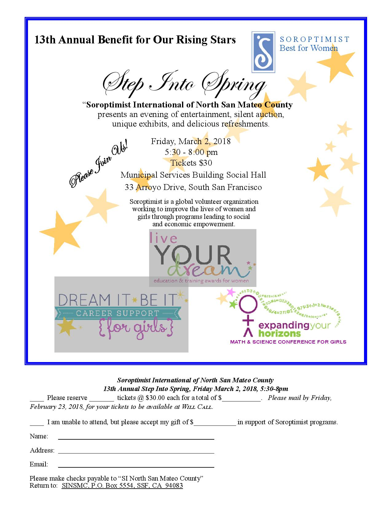 Soroptimist International of North San Mateo County Invite Public to 13th Annual STEP INTO SPRING Friday March 2nd at MSB