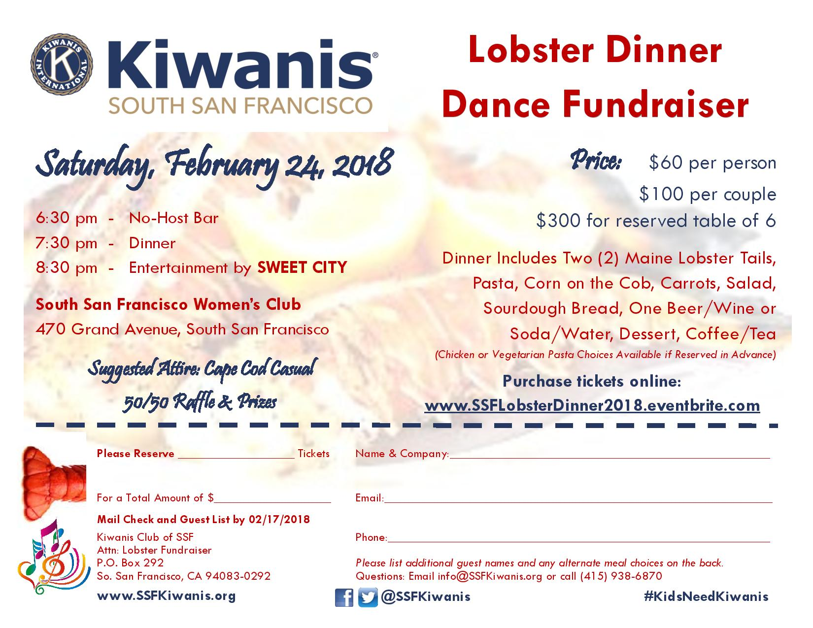 South San Francisco Kiwanis Lobster Dinner / Dance Fundraiser Set for February 24th at Women's Club