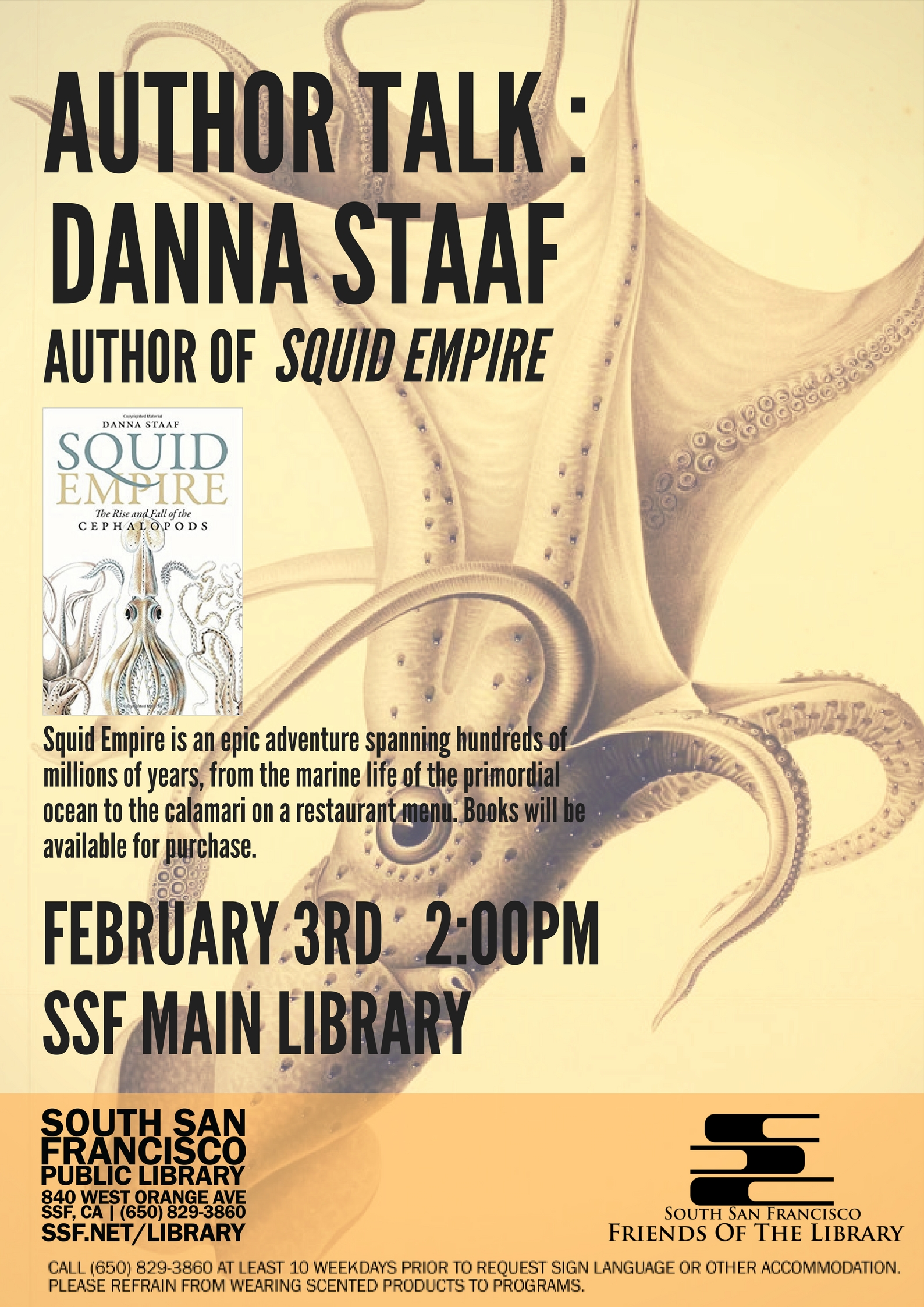 Special Event at SSF Library Sat Feb 3rd Author Talk: Squid Empire by Danna Staaf