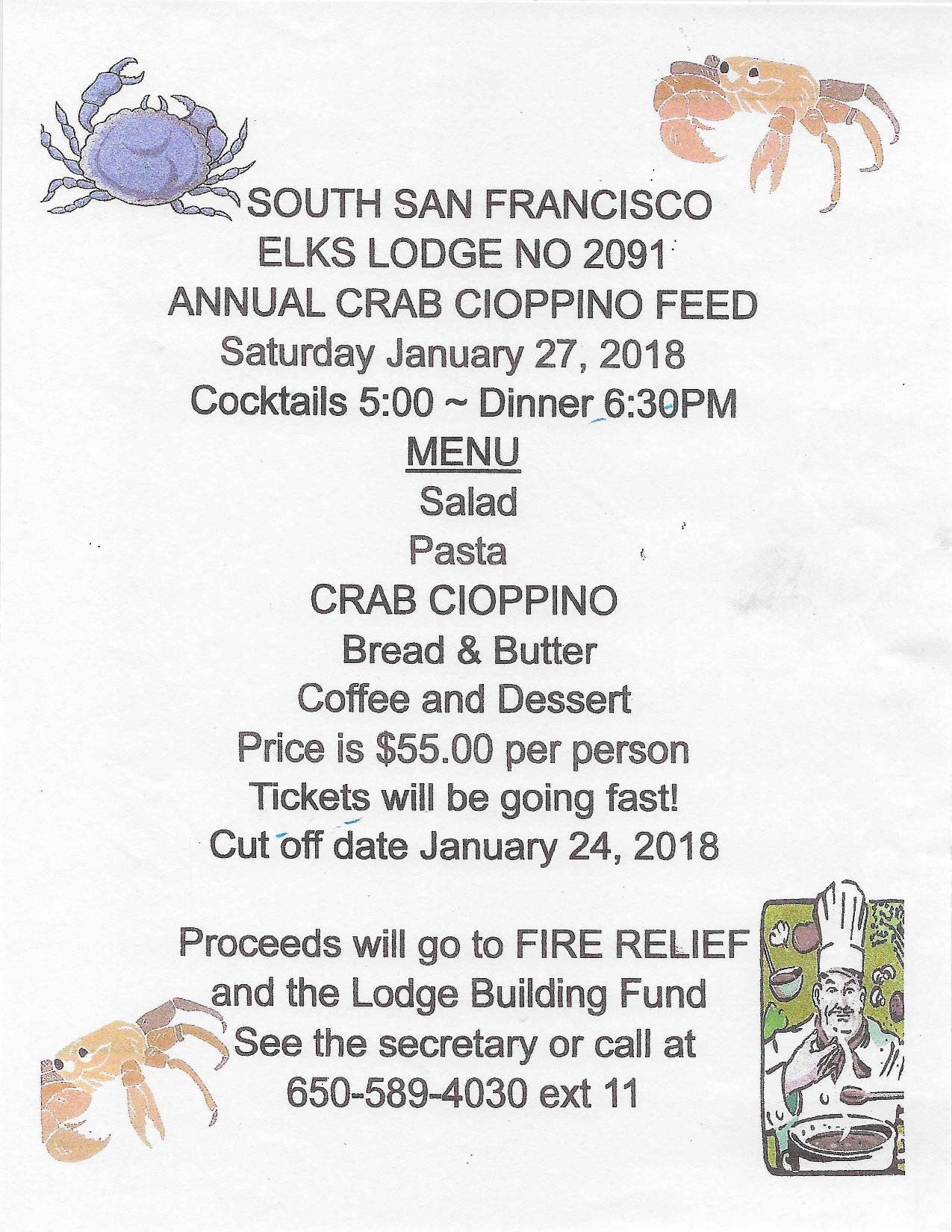 Elks Lodge Crab Cioppino Tickets NOW Available; Fundraiser for Fire Relief