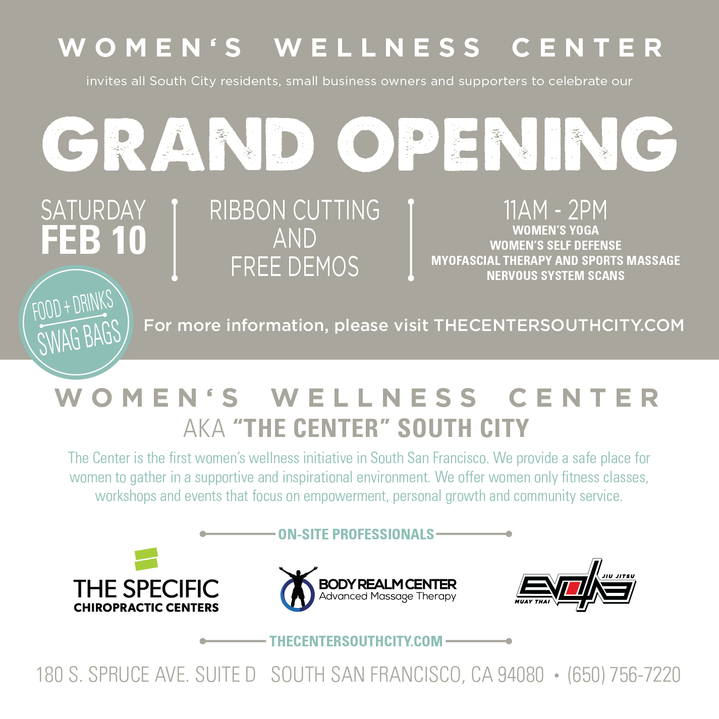 Women's Wellness Center – South San Francisco Grand Opening February 10th 11 AM – 2 PM