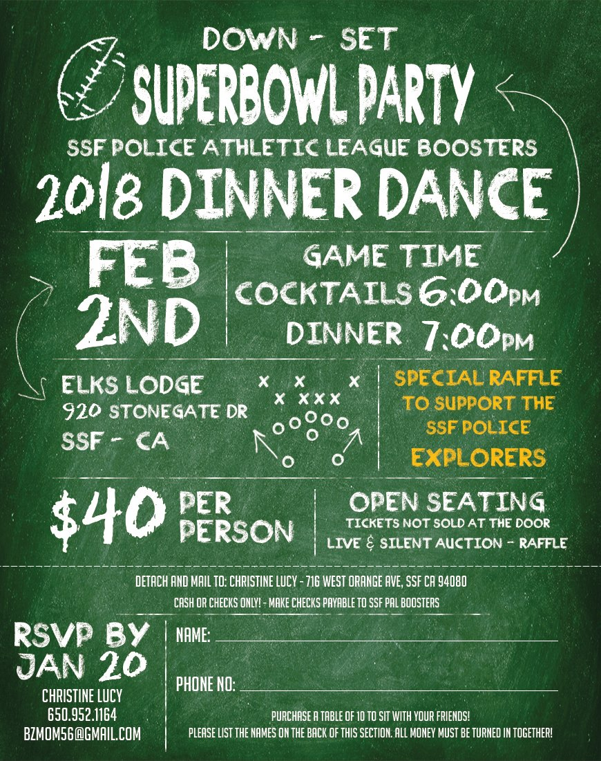 SSF PAL Dinner Dance Super Bowl Party Set For February 2nd, Get Your Tickets NOW!
