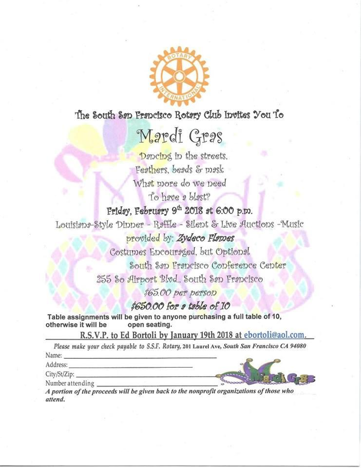 Rotary Club of South San Francisco Announces Mardi Gras Dinner Dance Set for February 9th at Conference Center
