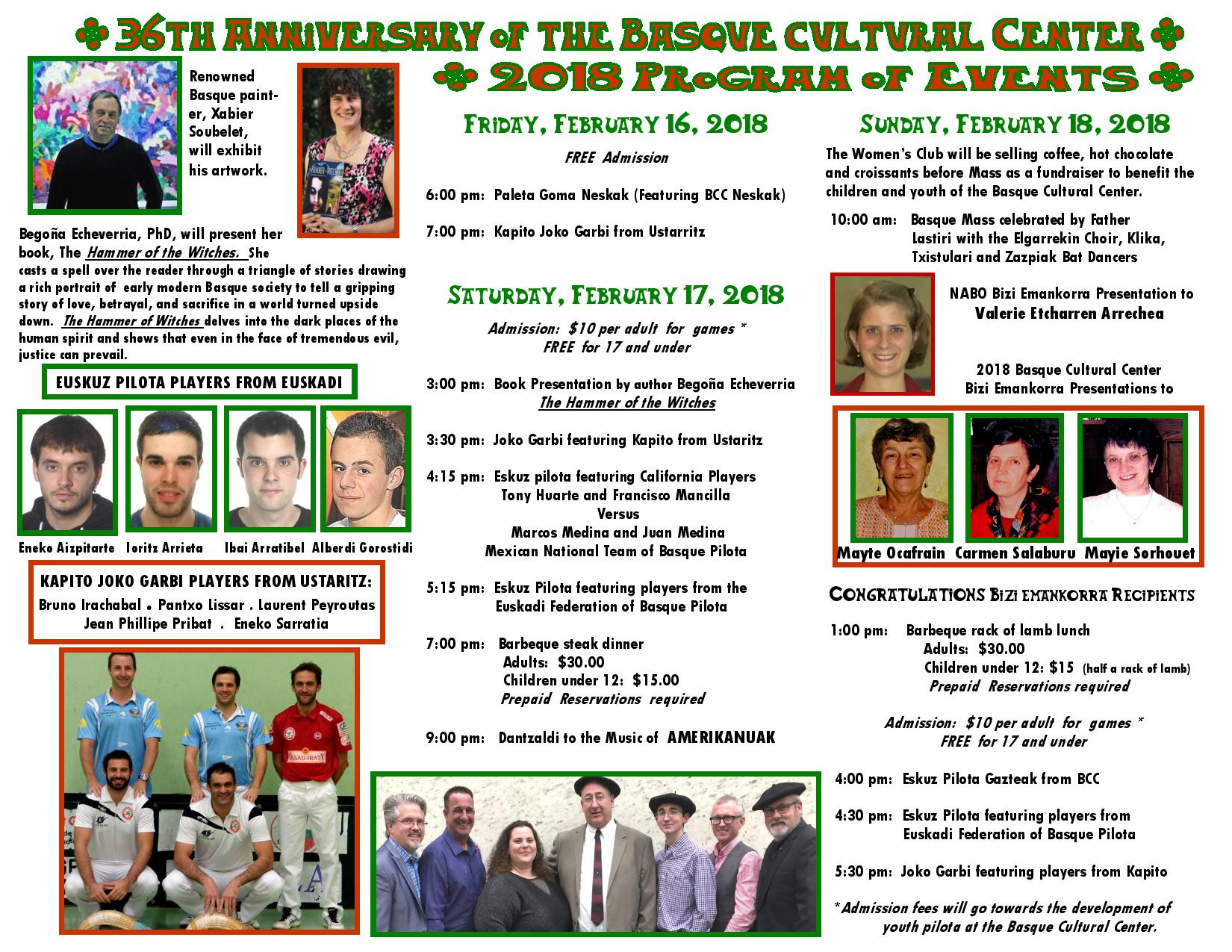 Basque Cultural Center Celebrates 36 Anniversary February 16-18th Tickets on Sale Now!