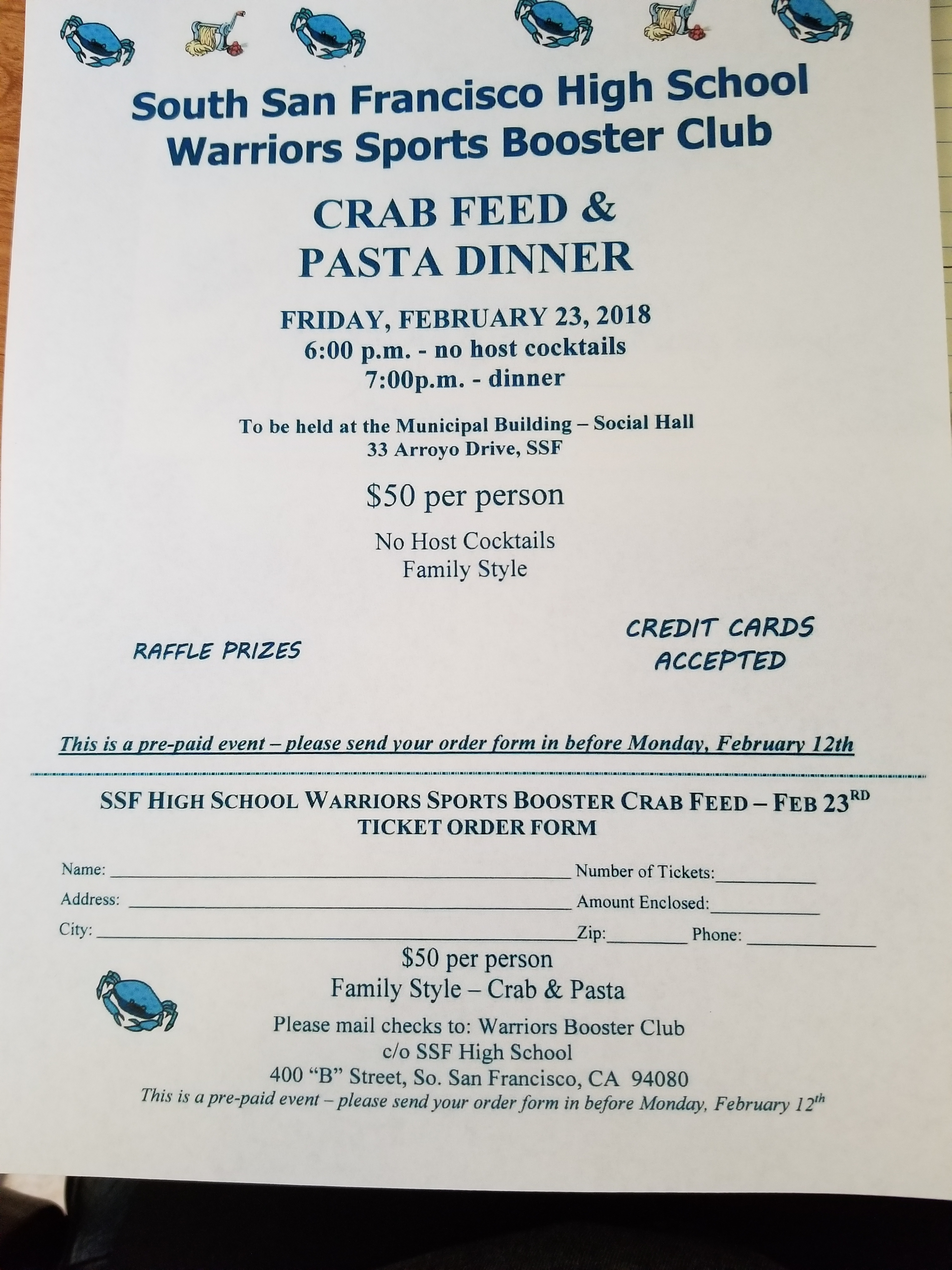 South San Francisco High School Crab Feed Set for February 23rd – Tickets on Sale Now!